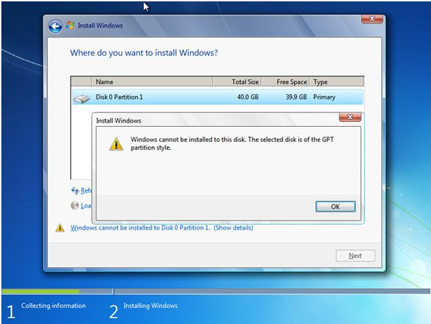 windows7 Windows cannot be installed to this disk. The selected disk is of the GPT partition style.